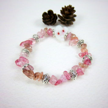 White Heart Glass Valentines Day Stretch Bracelet Kawaii Jewelry