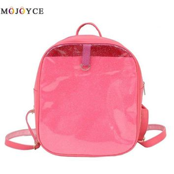 Clear Backpacks popular Preppy Style Glitter PVC Clear Women Backpacks Zipper Casual Simple Girls Small Shoulder School Backpack Mochila Feminina AT_62_4