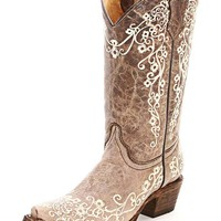 Corral Youth Crater Bone Embroidered Western Boot