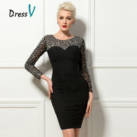 Dressv Luxury Black Cocktail Dresses 2017 Sheer Long Beaded Sleeves Short Party Formal Occasion Dresses Clubdress Cocktail Dress