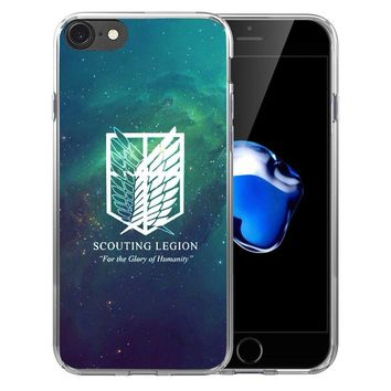 Cool Attack on Titan  Anime Soft Transparent Silicone Full Protective case Cover For iPhone X 8 7 7Plus 6 6S Plus 5 5S SE AT_90_11