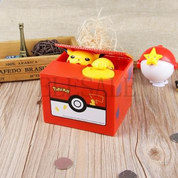 Pikachu Brand New Steal Coin Piggy Bank Electronic Plastic Money Safety Box Coin Bank Money boxesKawaii Pokemon go  AT_89_9