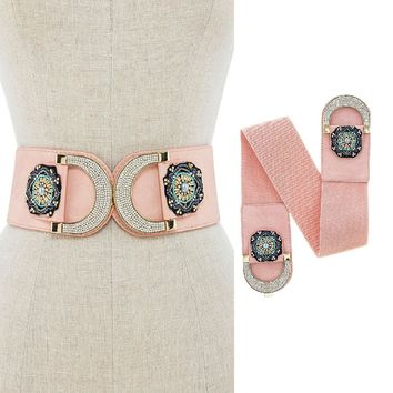 New Women Seed Bead Floral Crystal Accent Faux Leather Stretchable Corset Belt