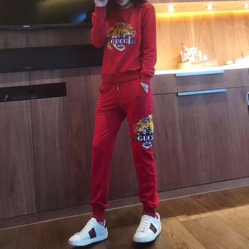 """""""Gucci"""" Women Casual Tiger Head Letter Embroidery Long Sleeve Trousers Set Two-Piece Sportswear"""