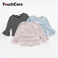 Newborn Stripes Lotus Leaf Sleeve Baby Girl T-shirt Toddler Cotton Baby Girl Clothes Infant Girls T Shirts