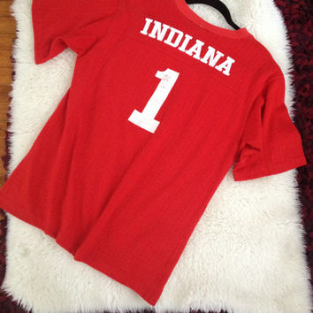 "Vintage IU Indiana University Hoosiers Shirt ""Cracked Lettering"" Mesh Jersey Style Cotton"