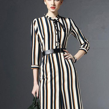 Fashion OL Three-quarter Sleeve Striped High Waist Midi A-line Shirt Dress