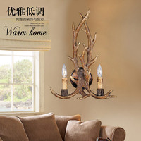 Rustic Retro Resin Antler Wall Sconce 2 Light Fixtures Lamp American Country Wall Light Deer Horn Candle Lampshade 110-240V