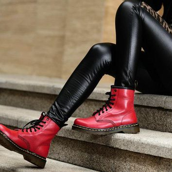 Dr.martens Classic 8 holes Women Boots  Color RED