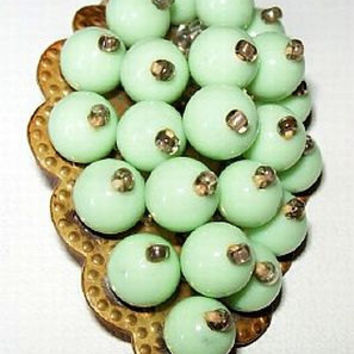Art Deco Brooch Fur Clip Mint Green Glass Pinned Beads Miriam Haskell Style Brass Metal 2""