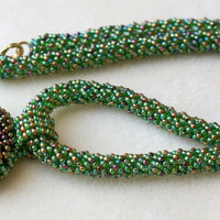 Green iris beaded necklace, rope, gold, emerald, Unakite pendant, seed bead jewelry, gift idea, one of a kind