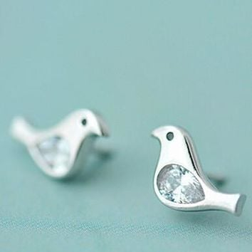 womens twinkle crystal bird ear studs earrings gift 02  number 1