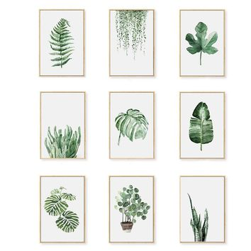 Cactus Decoration Watercolor Plant Leaf Posters and Prints Wall Art Canvas Painting Picture for Living Room Home Decor