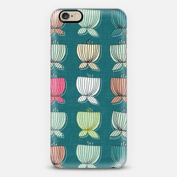 flower cups teal blue iPhone 6s case by Sharon Turner | Casetify
