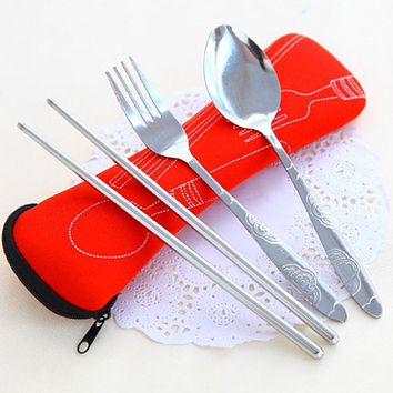 Lunch Portable Stainless Steel Dinnerware Tableware Sets Cutlery Three-piece Environmentally Outdoor Travel
