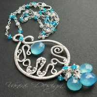 SALE - 20 Percent OFF- Sterling silver, sky blue chalcedony ,neon blue apatite and rainbow moonstone necklace