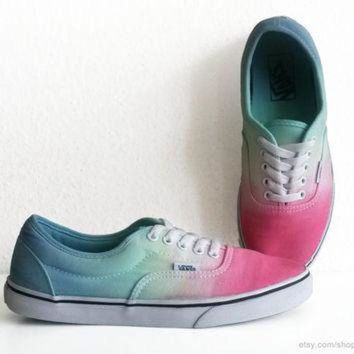 VLXZRBC Multi-colour Vans Lpe sneakers, Lo Pro Era, dip dye upcycled vintage skate shoes, past