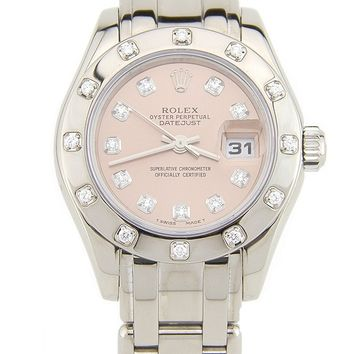 Rolex Lady-Datejust Pearlmaster 29mm 18k White Gold Diamond Womens Watch 80319 (Certified Pre-owned)