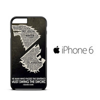 QUOTES OF THE REALM GAME OF THRONES Z1034 iPhone 6 Case
