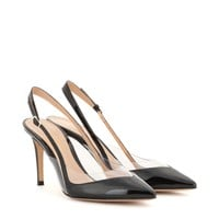gianvito rossi - patent-leather and transparent sling-back pumps