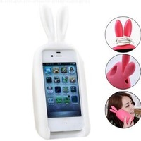 3D Cute Silicone Animal Rabbit Ear Case Stand Cover for iPhone 4 4S White