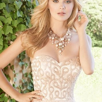 Pearl Scroll Bodice Dress wth Lace-up from Camille La Vie | Gowns