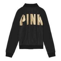 Victoria's Secret PINK Women Men Fashion Letter Print Long-sleeves Tops Sweater Coat Black