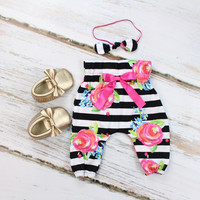 Black and White Stripe with Fuchsia Floral High Waisted Baby Pants   Black and White Stripe with Fuchsia Floral Pants
