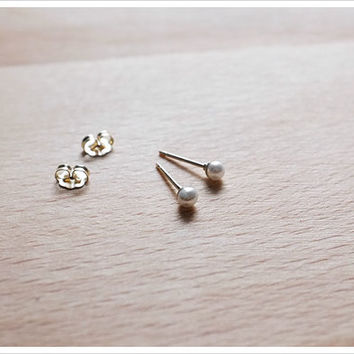 Tiny Pearl Stud Earrings - 3mm Freshwater Pearl Studs - 14k Gold Filled - Class Pearl Studs - Simple Minimalist Everyday Jewelry LITTIONARY