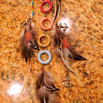 Pony Tail or Rear view mirror feather jewelry- Aqua, army green, red & orange with fleur-de-lis charms
