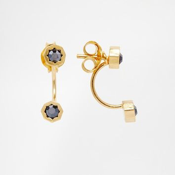 ASOS | ASOS Gold Plated Sterling Silver Swing Earrings with Rhinestone Studs at ASOS