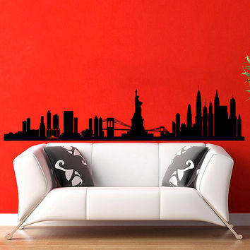 New York Skyline City Silhouette Wall Vinyl Decal Sticker Home Decor Art Mural  Z387