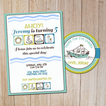 Nautical birthday party invitations Thank you label / Boys sea birthday invitation card / Kids nautical party invites / blue green invite