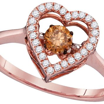 10kt Rose Gold Womens Round Cognac-brown Colored Diamond Moving Twinkle Solitaire Ring 3/8 Cttw