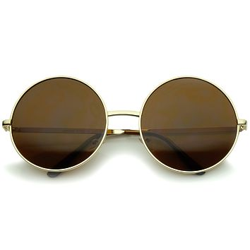 Oversize Vintage Inspired Metal Round Circle Sunglasses 8370