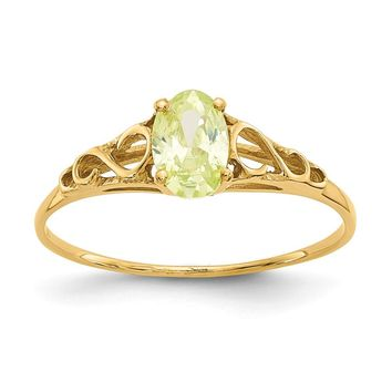 14K Yellow Gold Madi K Synthetic Peridot Ring