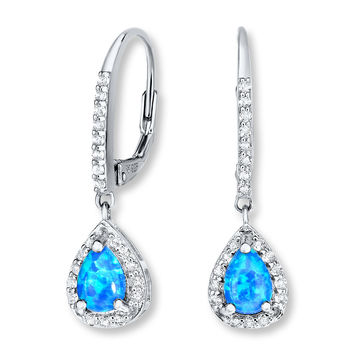 Lab-Created Blue Opal Earrings White Topaz Sterling Silver