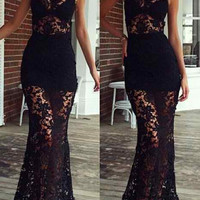 Black Turtleneck Floral Maxi Dress