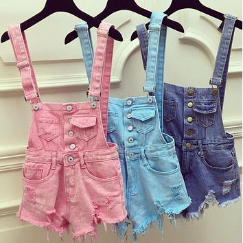2016 Women Denim Jeans Single-breasted Casual Hole Jumpsuit Romper Overalls jeans shorts