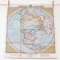 Northern Hemisphere National Geographic Map, 1946, Large Vintage Map, Azimuthal Equidistant projection