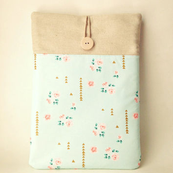 Womens iPad Air 2 Case with pocket, Mint Green iPad Air 1 Floral Sleeve, Padded Tablet Cover Bag, Flower Gadget Ladies Girls Sac Arrows Rose