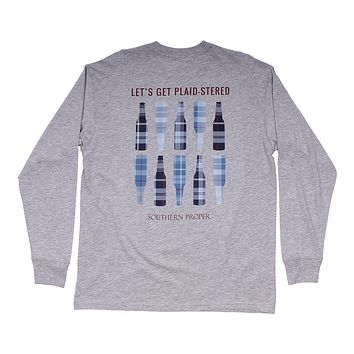 Plaid-stered Long Sleeve Tee in Heather Grey by Southern Proper - FINAL SALE