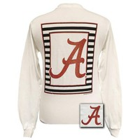 Alabama Crimson Tide Preppy Glitter Logo Girlie Long Sleeves T Shirt