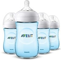 Philips Avent Natural 4 Piece SCF013/49 Baby Bottle, Blue