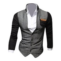 jeansian Men's Fashion Jacket Outerwear Blazer Tops 9046