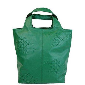 Bottega Veneta Woven Detail Green Leather Tote Bag 297981 3105
