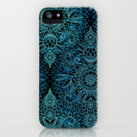 Black & Aqua Protea Doodle Pattern iPhone & iPod Case by micklyn   Society6