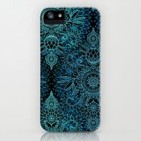 Black & Aqua Protea Doodle Pattern iPhone & iPod Case by micklyn | Society6