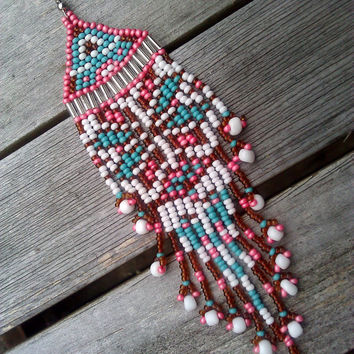Pink, Turquoise / Blue, White, and Brown Native American Star Beaded Earrings with Bird Tailed Shoulder Brushing Fringe with Flower