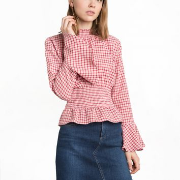 Red Gingham Smocked Bell Sleeve Top